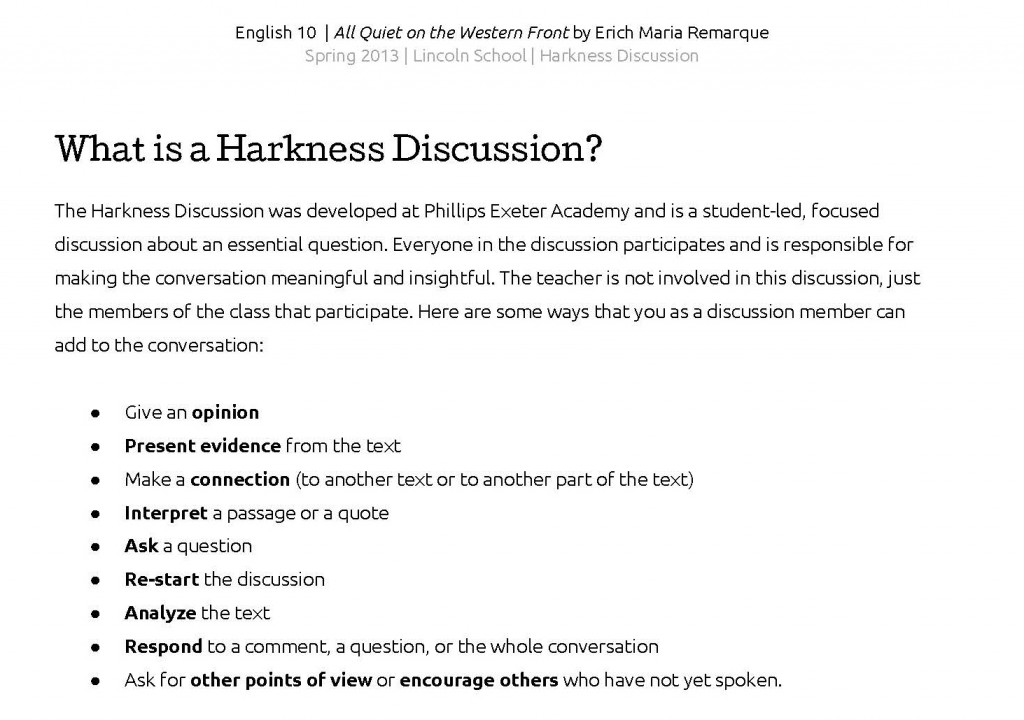 Harkness Discussions English  Literary Journeys